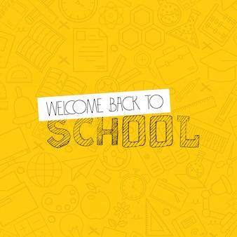 Terug naar schoolontwerp met gele vector als achtergrond