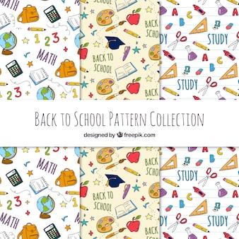 Terug naar schoolpatroneninzameling met verschillende elementen