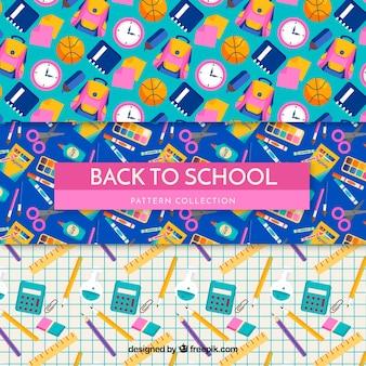 Terug naar schoolpatrooninzameling met vlak ontwerp