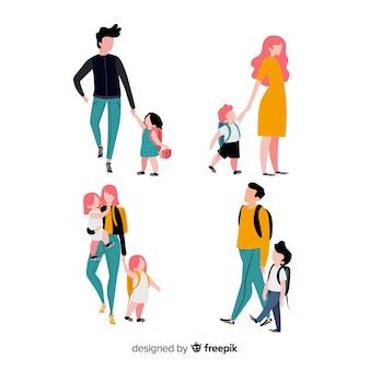 Terug naar schoolpersonages, vader en moeder met zoon en dochter