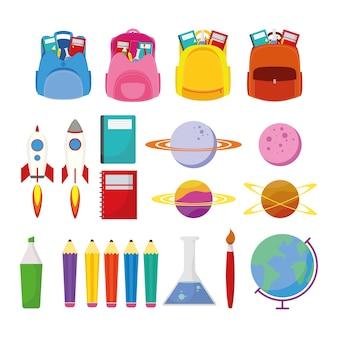 Terug naar schoolseizoen met ontwerp van de vastgestelde leveringen vectorillustratie