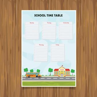 Terug naar schooltijd tabel