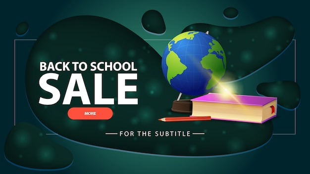 Terug naar schoolverkoop, blauwe kortingsbanner met bol en schoolboeken