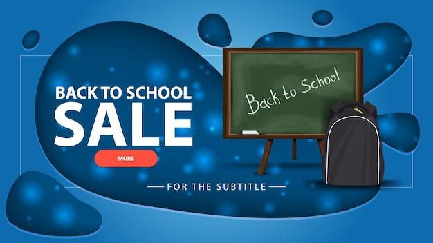 Terug naar schoolverkoop, blauwe kortingsbanner met schoolbestuur en schoolrugzak