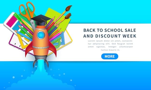 Terug naar schoolverkoop en kortingsweek, horizontale banner met raket.