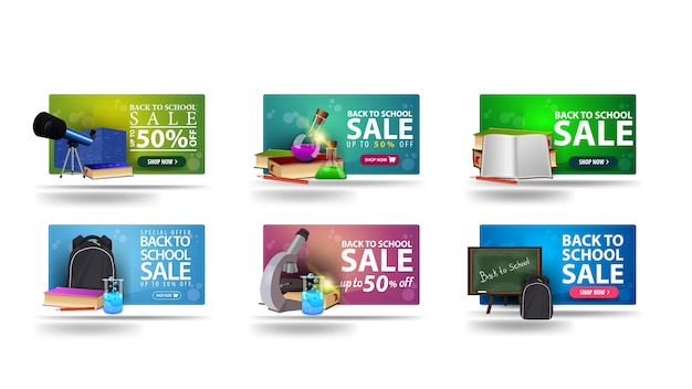 Terug naar schoolverkoop, grote collectie 3d-kortingsbanners voor uw bedrijf met schoolbenodigdheden
