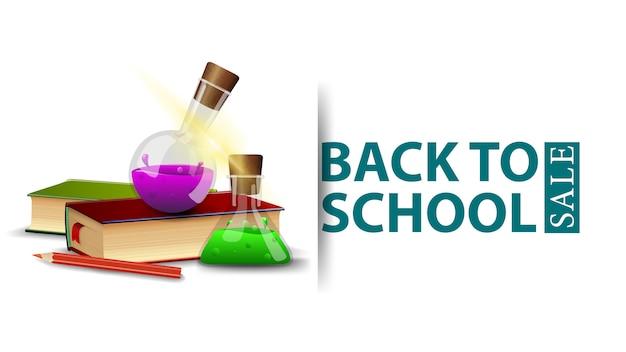 Terug naar schoolverkoop, modern ontwerp van een kortingsbanner met boeken en chemische flessen