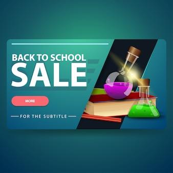 Terug naar schoolverkoop, moderne 3d-volumetrische webbanner voor uw website met boeken en chemische kolven