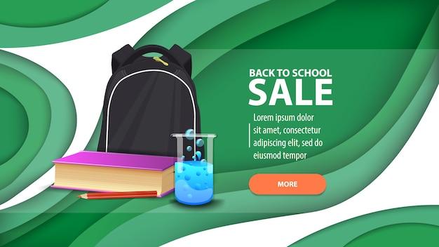Terug naar schoolverkoop, moderne webbanner in papierstijl voor uw website