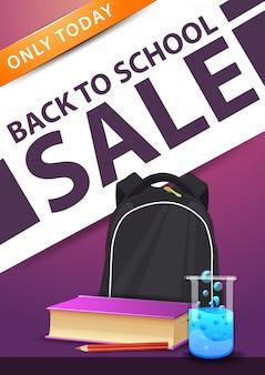 Terug naar schoolverkoop, roze verticale kortingsbanner met schoolrugzak