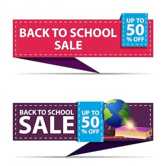 Terug naar schoolverkoop, twee horizontale kortingsbanners in de vorm van een lint