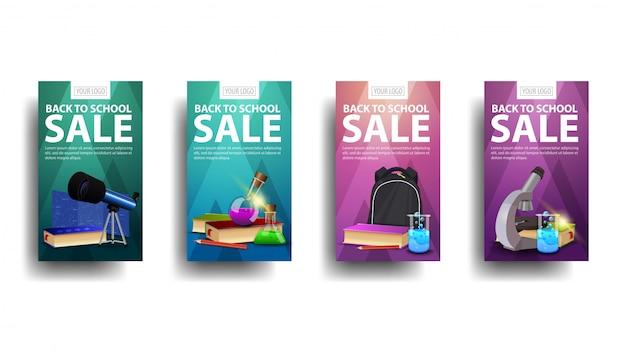 Terug naar schoolverkoop, verzameling verticale kortingsbanners voor uw bedrijf