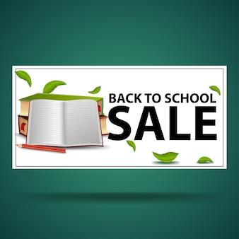 Terug naar schoolverkoop, witte kortingsbanner met schoolboeken en notitieboekje
