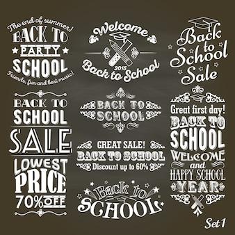 Terug naar schoolvintage-etiketten op bord