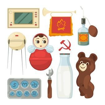 Terug naar ussr. symbolen en traditionele historische monumenten van de sovjet-unie. traditionele ussr, historische nostalgie uit de sovjet-unie