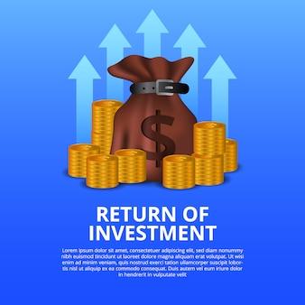 Terugkeer van investerings roi illustratieconcept met geldzak en gouden muntstuk