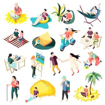 Terugschakelen ontsnappende werkstress ontspannende mensen met leven vervullende loopbaanveranderingen isometrische pictogrammen collectie geïsoleerd