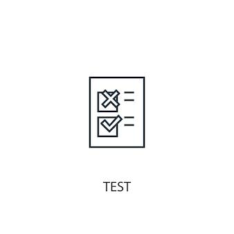 Test concept lijn pictogram. eenvoudige elementenillustratie. test concept schets symbool ontwerp. kan worden gebruikt voor web- en mobiele ui/ux