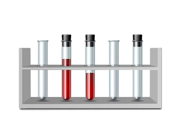 Test glazen buizen in rek. apparatuur voor biologie wetenschap, onderwijs of medische tests. set van wetenschappelijk of medisch glaswerk - lege transparante reageerbuis en reageerbuis gevuld met bloed. vector