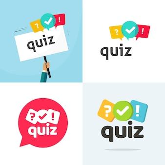 Test quiz logo pictogram vector platte cartoon competitie interview tijd of ondervraging spel logo