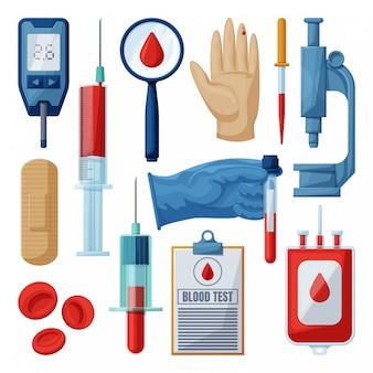 Test van bloed cartoon ingesteld pictogram.