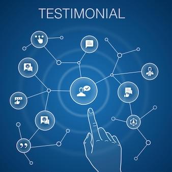 Testimonial concept, blauwe background.feedback, aanbeveling, review, commentaar iconen