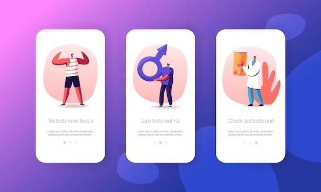 Testosteron hormonale diagnostiek mobiele app-pagina onboard-schermsjabloon