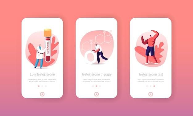 Testosteron mobiele app-pagina onboard-schermsjabloon