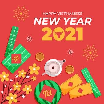 Têt (vietnamees nieuwjaar) platte ontwerp achtergrond
