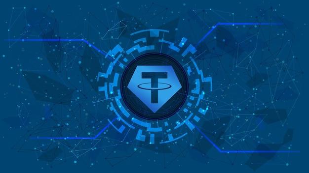 Tether token-symbool, usdt-muntpictogram, in een digitale cirkel met een cryptocurrency-thema op een blauwe achtergrond. digitaal goud in futuristische stijl voor website of banner. ruimte kopiëren. vectoreps10.