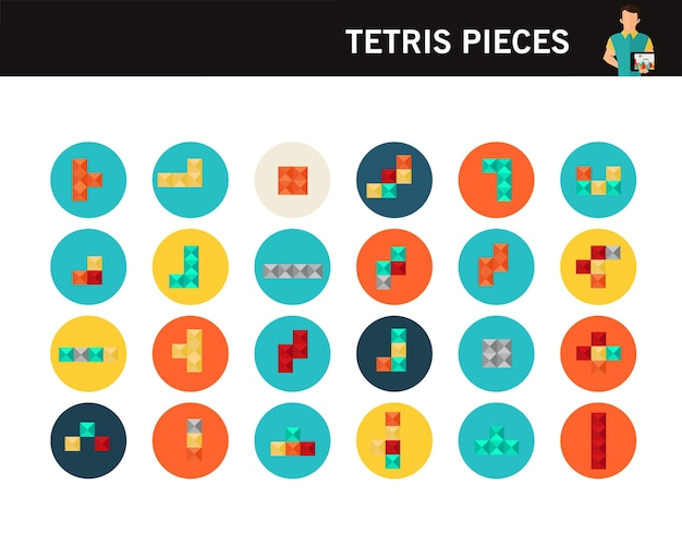 Tetris stukken concept plat pictogrammen.