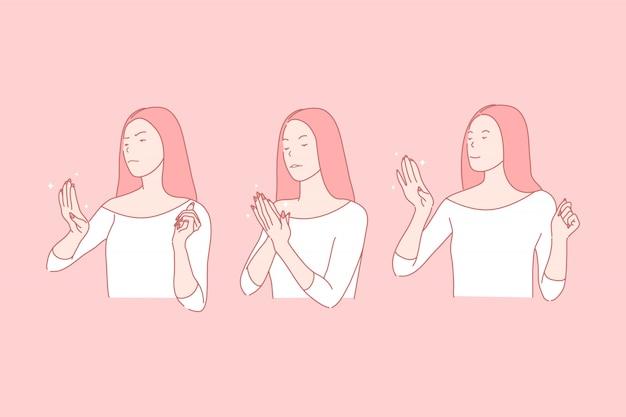 Tevreden en ontevreden nagel cliënt illustratie