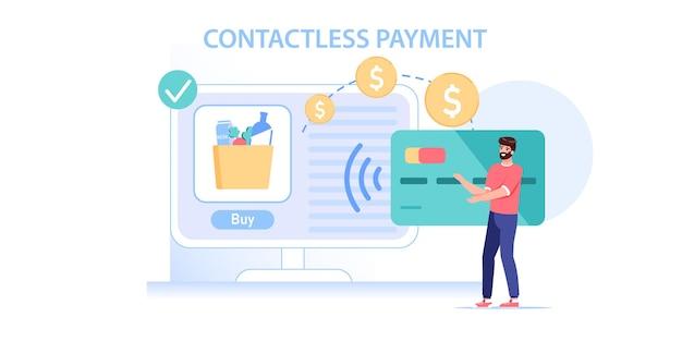 Tevreden klant koopt goederen online met smartcardillustratie