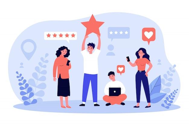 Tevreden klanten die feedback geven aan service of online winkel
