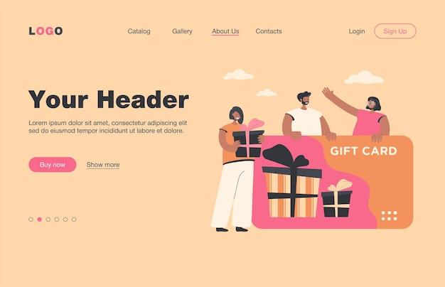 Tevreden klanten krijgen een cadeaubon uit de winkel of winkel. consumenten met tegoedbon vieren verkoopseizoen. bestemmingspagina. om te winkelen, cadeau, bonusprogramma, winkelconcept