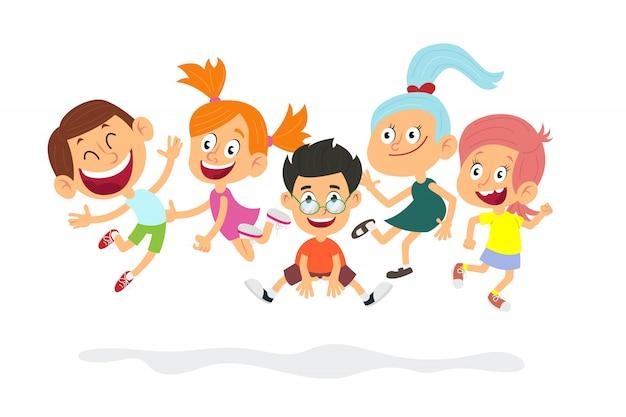 Tevreden leerlingen karakters. schattige kinderen spelen.