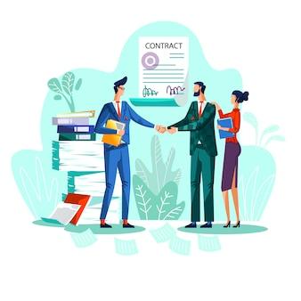 Tevreden zakenlieden schudden elkaar de hand tegen ondertekende overeenkomst