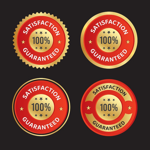 Tevredenheid gegarandeerd vertrouwen badge vector logo