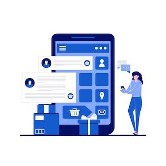 Tevredenheid over de service en feedback van klanten met klanten die het product evalueren