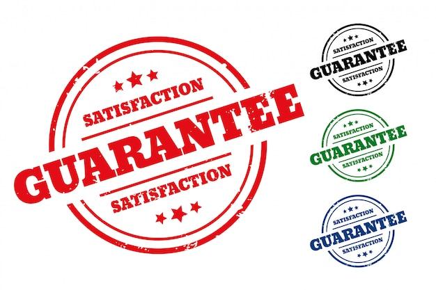 Tevredenheidsgarantie rubberen stempeletiket set van vier