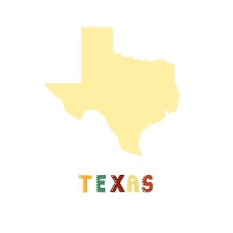 Texas kaart geïsoleerd. vs collectie. kaart van texas - geel silhouet. doodle stijl belettering op wit Premium Vector