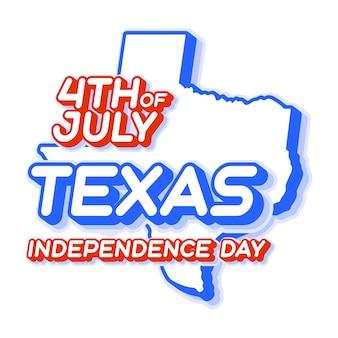 Texas staat 4 juli onafhankelijkheidsdag met kaart en usa nationale kleur 3d-vorm van us shape