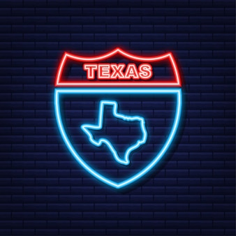 Texas staat overzicht neon kaartpictogram. vector illustratie.