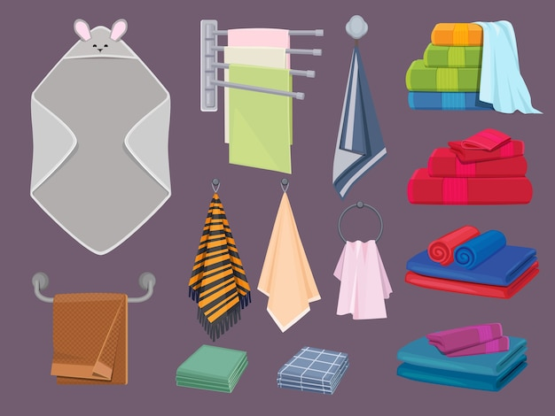 Textiel katoen. stoffen dekens en keukendoeken badkamerhygiëne kleurrijke cartoon elementen. verzameling zachtheid handdoek op hanger ter illustratie van de hygiëne