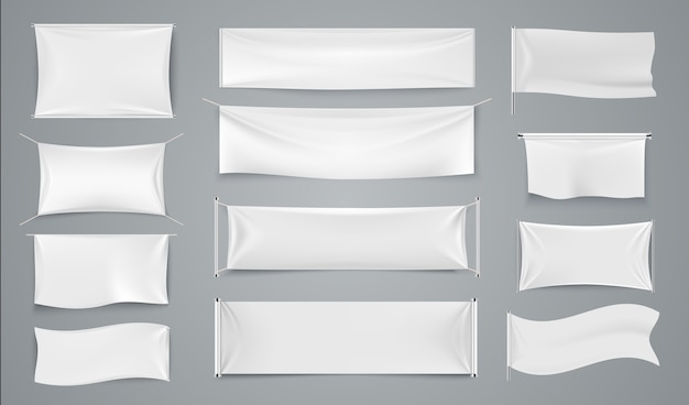Textiel reclamebanners. witte golvende stoffenborden, blanco geïsoleerd