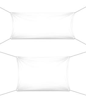 Textielbanners op witte sjablonen als achtergrond met plaats voor uw tekst en ontwerp