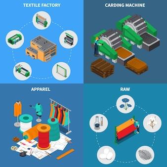 Textielindustrie isometrisch ontwerpconcept met conceptuele pictogrammen en pictogrammen met naaispoelen en naai-naalden