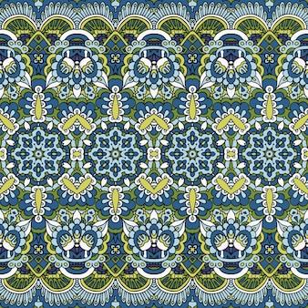 Textielstof ikat design volkskunst. paisley regelmatige bloemenherhaling.