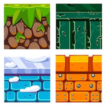 Texturen voor platformers met bodem, gras en stenen