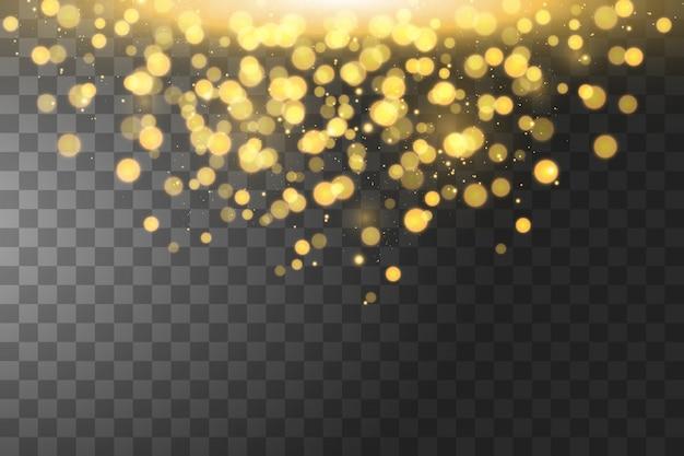 Textuur achtergrond abstract zwart en gouden glitter en elegant voor kerstmis. sprankelende magische stofdeeltjes. magisch concept.